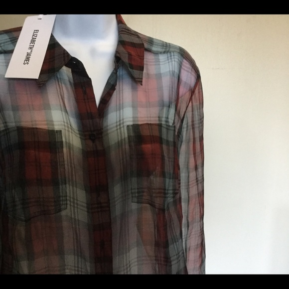 NWT ELIZABETH AND JAMES XS BL RED Sheer Plaid Top